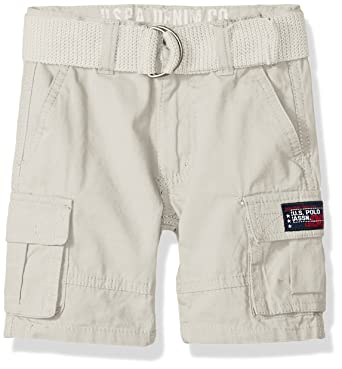 U.S. Polo Assn. Boys Toddler Short, Washed Cargo Stone Island, 4T ...