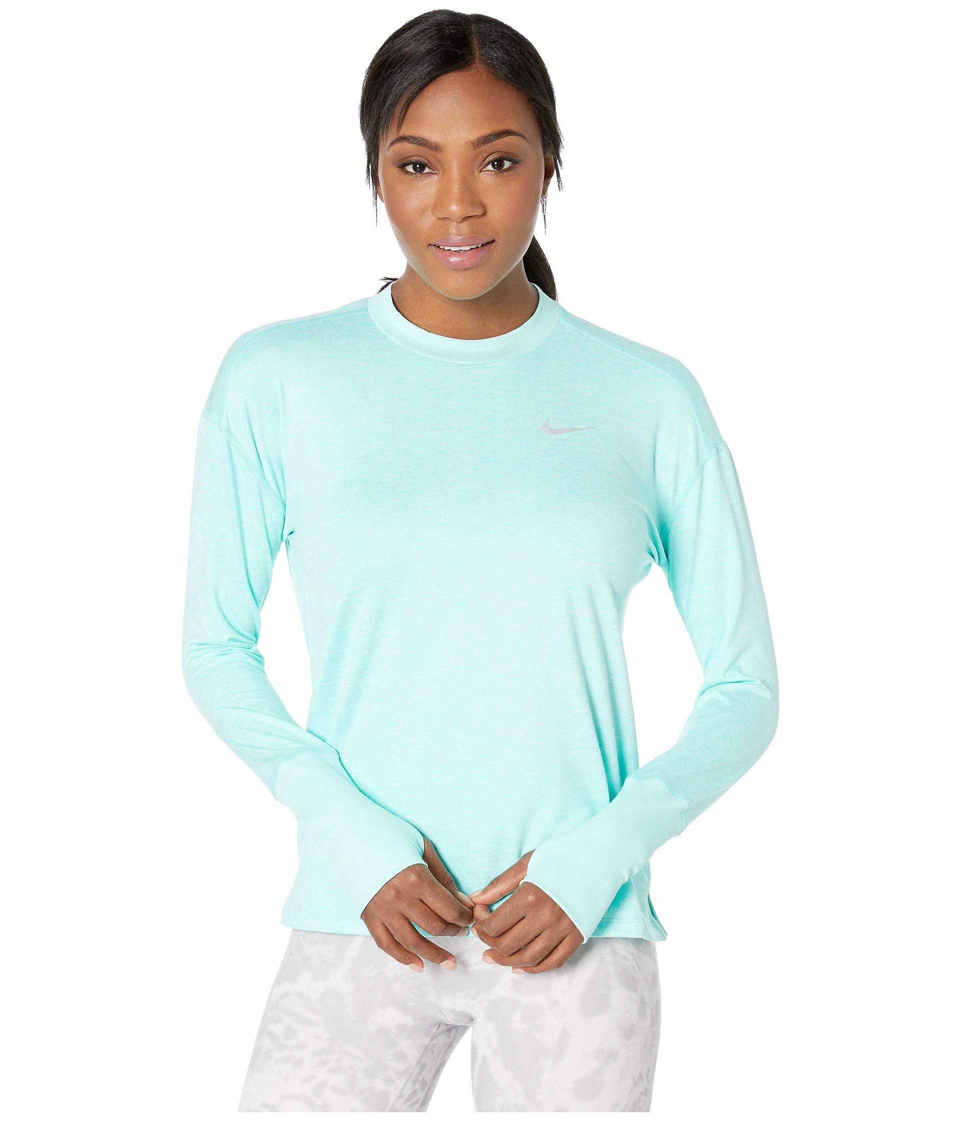 Nike Women's Element Long Sleeve Running Shirt (Tropical Twist/Teal Tint, X-Small)