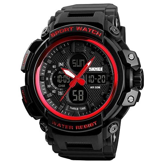 Image Unavailable. Image not available for. Color  SKMEI Sports Watch Mens  Quartz Digital Watch Big Face LED Back Light Chronograph Waterproof ... 1b1de95219