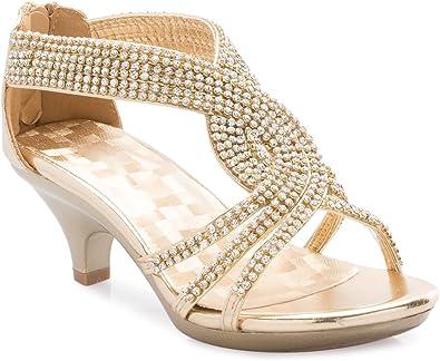 Girls Kids Rhinestone Strap Heels Dance Party dress Sandals Flower size 1-4