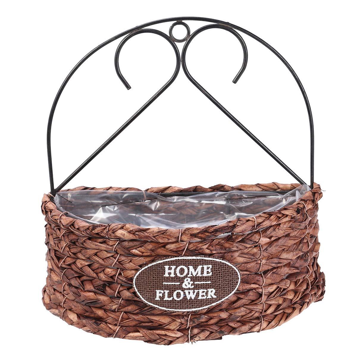 BESTOMZ Flower Basket, Wall Hanging Handmade Floral Basket Indoor Outdoor Decor Semicircle Planter Basket Flower Pot Single-Deck