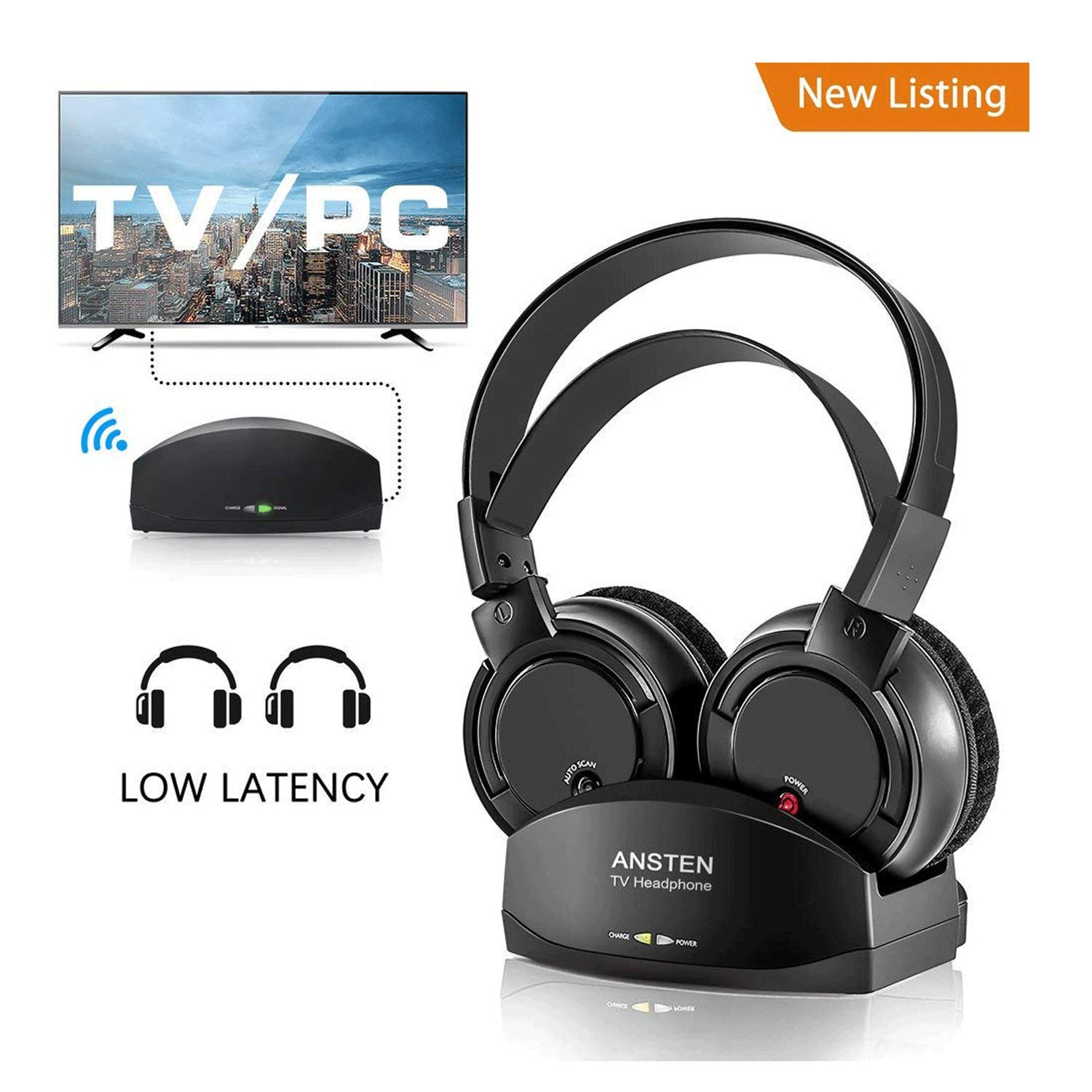 Wireless Headphones for TV With Charging Dock,over the Ear Stereo Headset with RF Transmitter,Adjustable,Lightweight,Cordless Design For Gaming PC,Iphone Ipad 25hr Battery