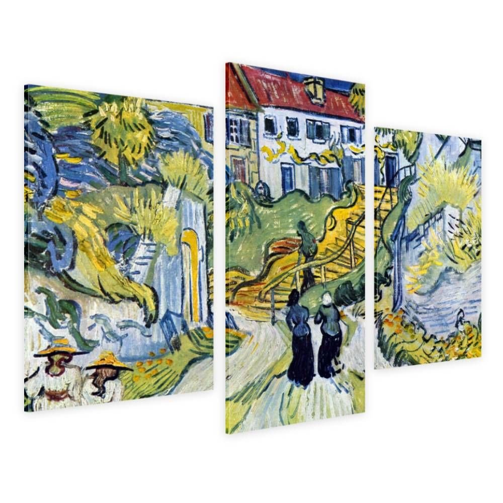Alonline Art - Stairway At Auvers by Vincent Van Gogh | framed stretched canvas on a ready to hang frame - 100% cotton - gallery wrapped | 42''x28'' - 107x71cm | 3 Panels split | Wall art home decor