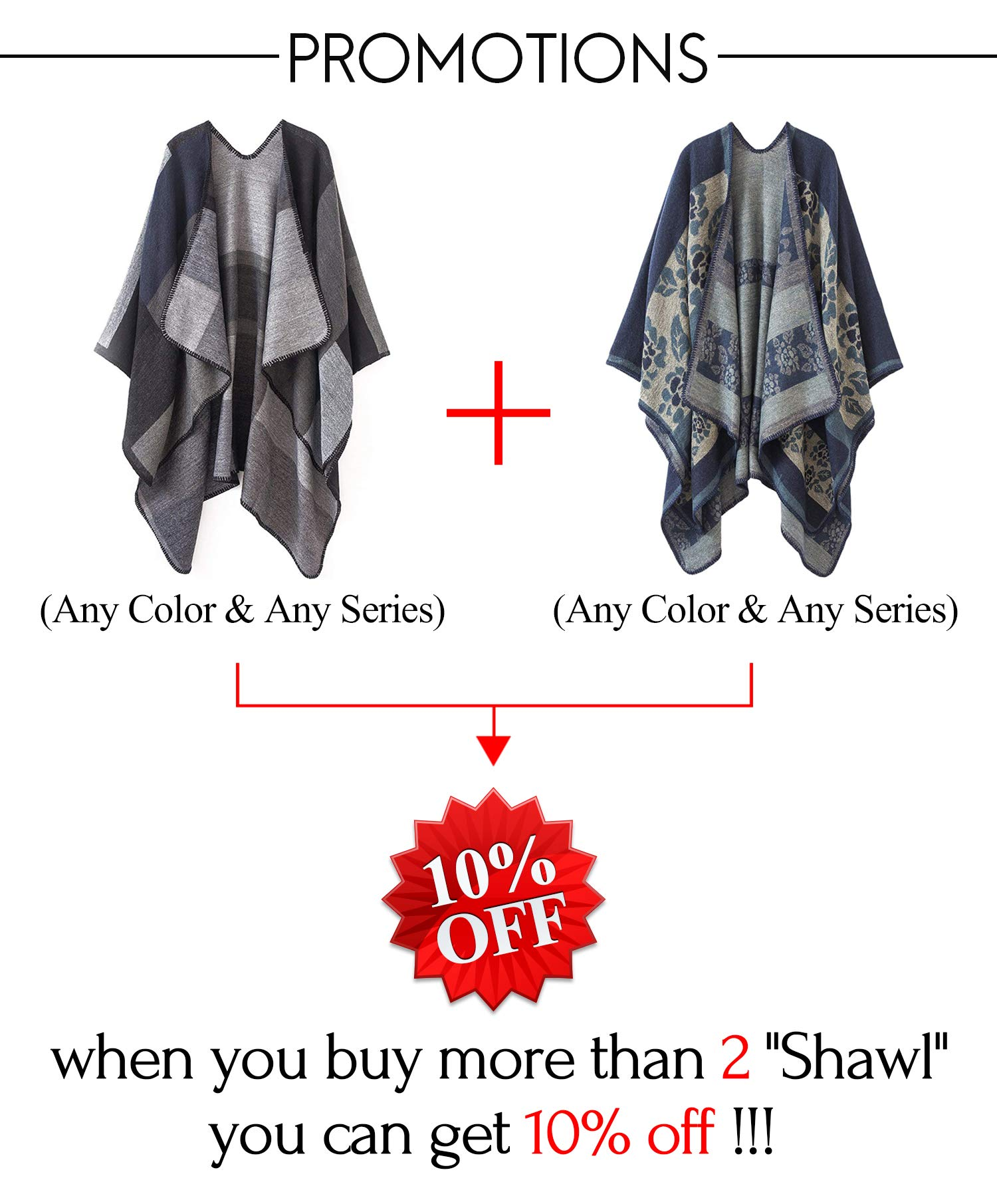 Women Plaid Shawls and Wraps,Winter Poncho Cape,Soft Cashmere Cloak,Oversized Long Cardigan Sweaters(Black) by KirGiabo (Image #8)