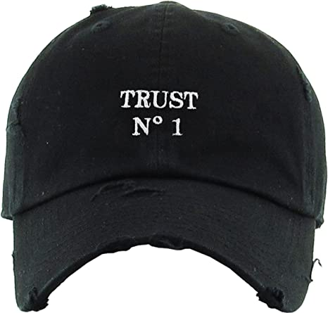 fd8af80e05b Amazon.com  KBSV-055 BLK Trust No1 Vintage Distressed Dad Hat Baseball Cap  Polo Style  Sports   Outdoors