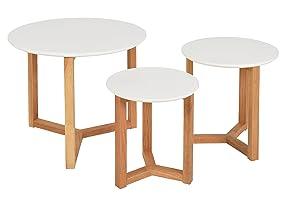 ts-ideen Set 3 tavolini da salotto tavolini da caffé tondi in Rovere natutale e Bianco