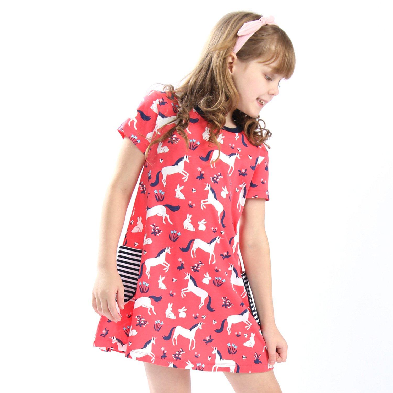 Mrsrui Little Girls Cotton Dress - Cartoon Print Tshirt Dress Skirt Red by Mrsrui