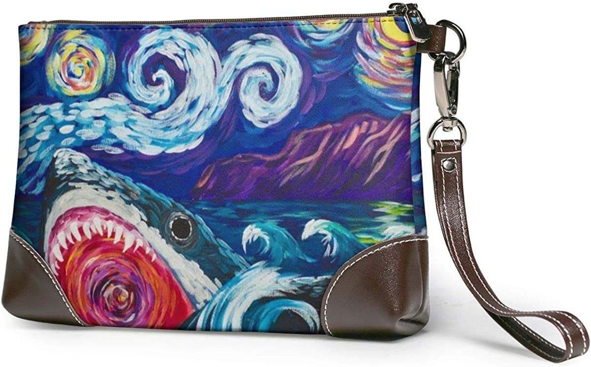 Great White Shark Learn Van Gogh Leather Wristlet Clutch Bag Zipper Handbags Purses For Women Phone Wallets With Strap Card Slots