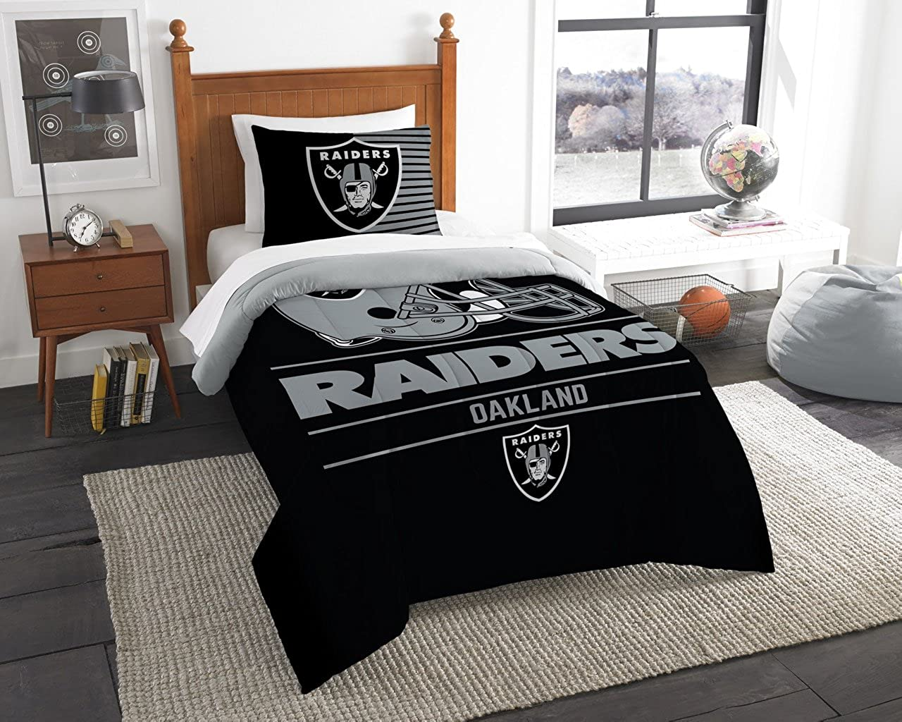 Northwest NFL Oakland Raiders Twin Comforter and Sham Multicolor One Size