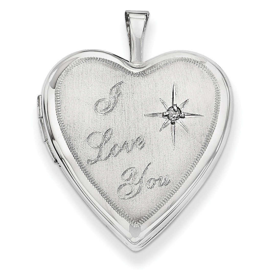 ICE CARATS 14k 20mm White Gold I Love You Diamond Heart Photo Pendant Charm Locket Chain Necklace That Holds Pictures Fine Jewelry Gift Set For Women Heart