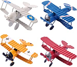 eZAKKA Airplane Decor Hanging Airplane Ornament Vintage Mini Metal Airplane Toys Decorations Model Aircraft Biplane Pendant for Boys Room, Photo Props, Christmas Tree, Desktop Decoration, 4 Color-Pack