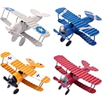 eZAKKA Aeroplane Decor Vintage Mini Metal Decorative Aeroplane Model Hanging Wrought Iron Aircraft Biplane Pendant Toys for Photo Props, Christmas Tree Ornament, Desktop Decoration, 4 Colour-Pack