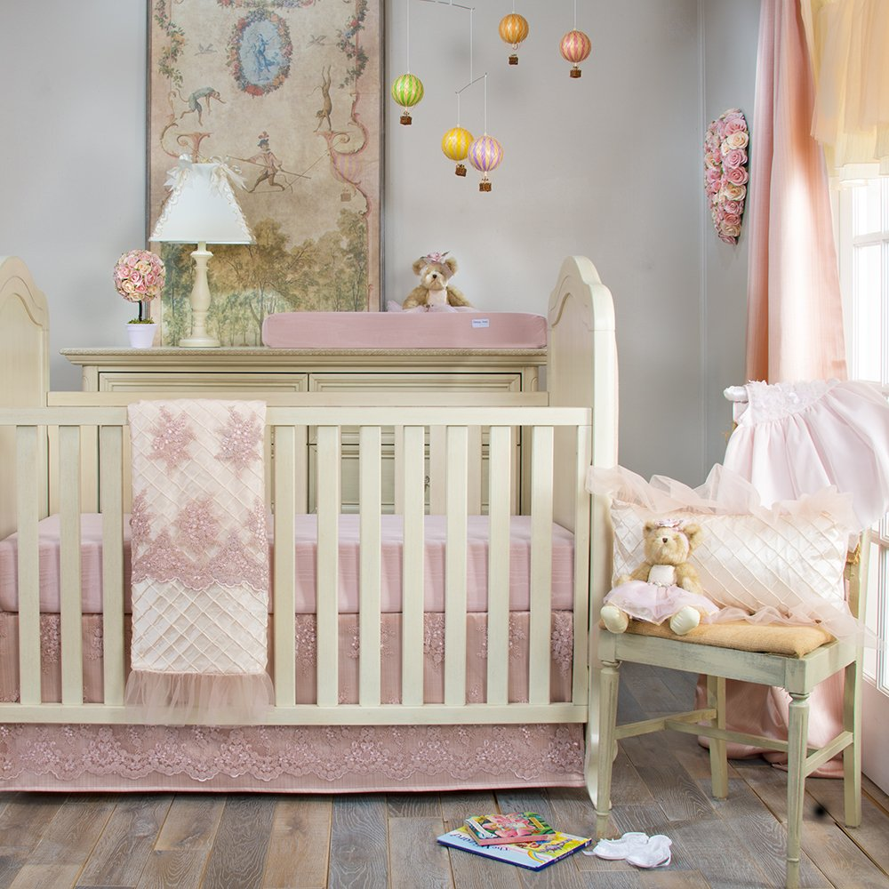 Crib Bedding Set Remember My Love by Glenna Jean | Baby Girl Nursery + Hand Crafted with Premium Quality Fabrics | Includes Quilt, Sheet & Bed Skirt with Pink & Ivory Accents by Glenna Jean