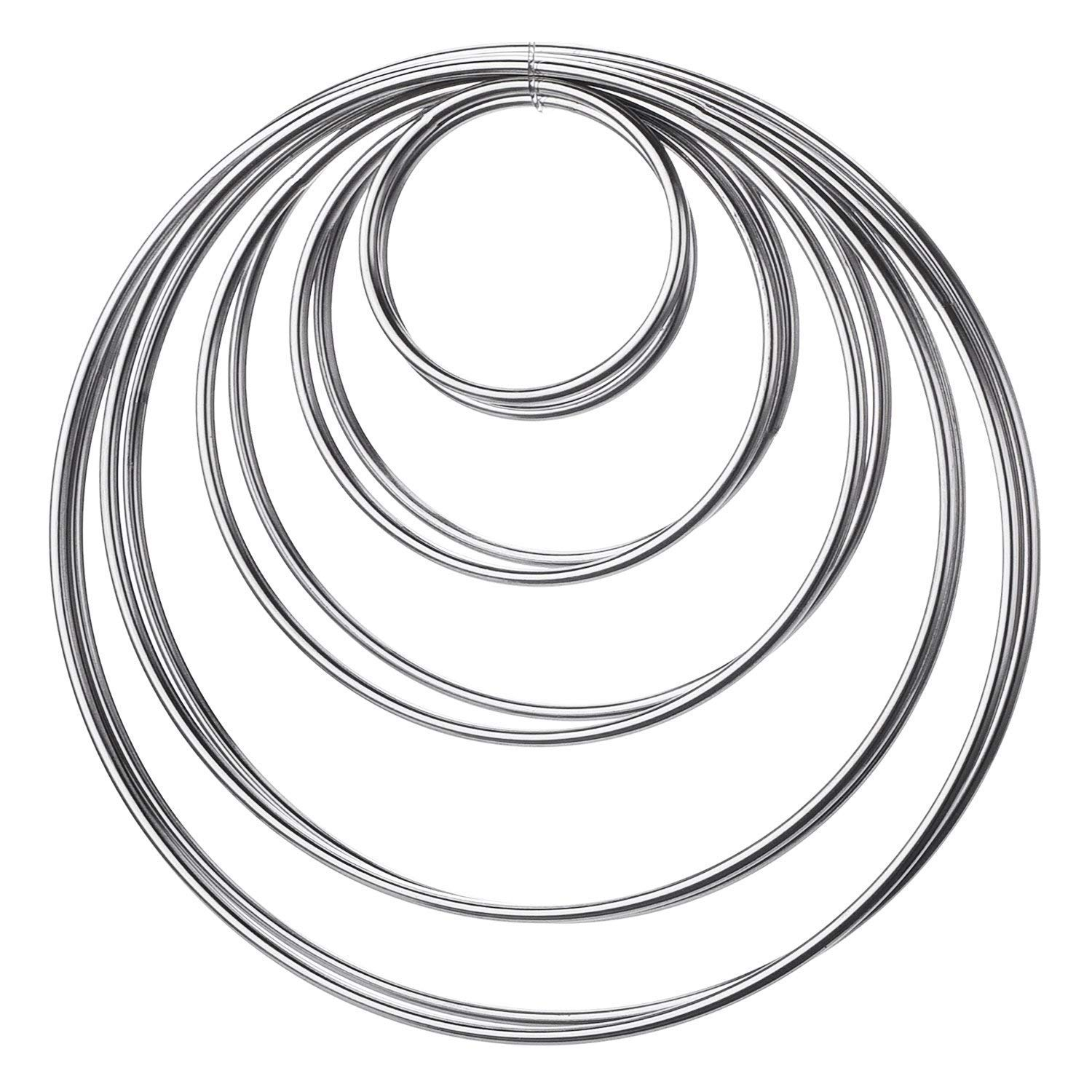 ACE SELECT Metal Hoops Set of 10 Craft Rings Metal Rings for Dream Catcher and Wreath - Silver