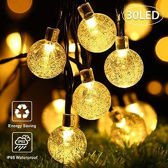 Guirnalda de luces solares,OxyLED 30 luces LED para jardín, patio, exteriores, impermeable, para interiores y exteriores, ideal para jardín, terraza, patio, exterior, Navidad (luz ambiental): Amazon.es: Iluminación