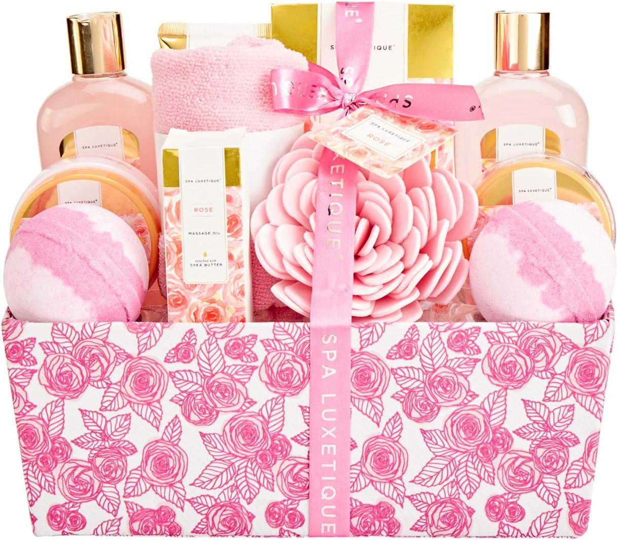 Spa Luxetique Set de Baño y Ducha, Set de 12 Regalos para Mujer a Rosa,Set de Spa para Hogar, Incluye Gel de Ducha, Baño de Burbujas, Aceite de Masaje, Bomba de Baño, Regalos Originales para Mujer