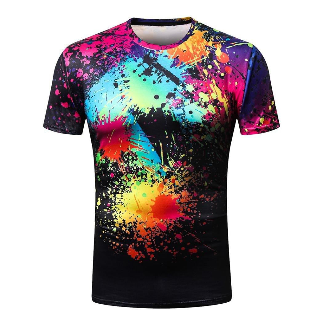 Amlaiworld Uomo 3D stampa Funny Graphic T-shirt girocollo estate coppia Tees manica corta camicia Amlaiworld-2
