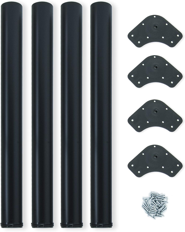 EMUCA - Patas de Mesa Regulables Ø60x710mm, Kit de 4 Patas de Acero, Altura Regulable 710-730mm, Color Negro