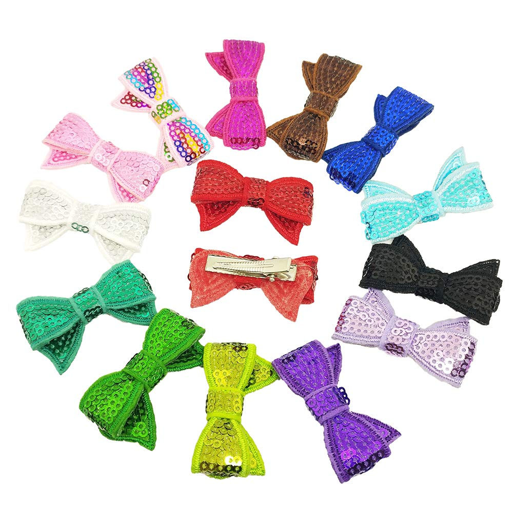 PET SHOW 10 Pairs Bowknot Small Dogs Hair Bows with Alligator Clips Glitter Pet Medium Dog Puppies Cats Topknot Headdress Grooming Hair Accessories Party Costumes by PET SHOW