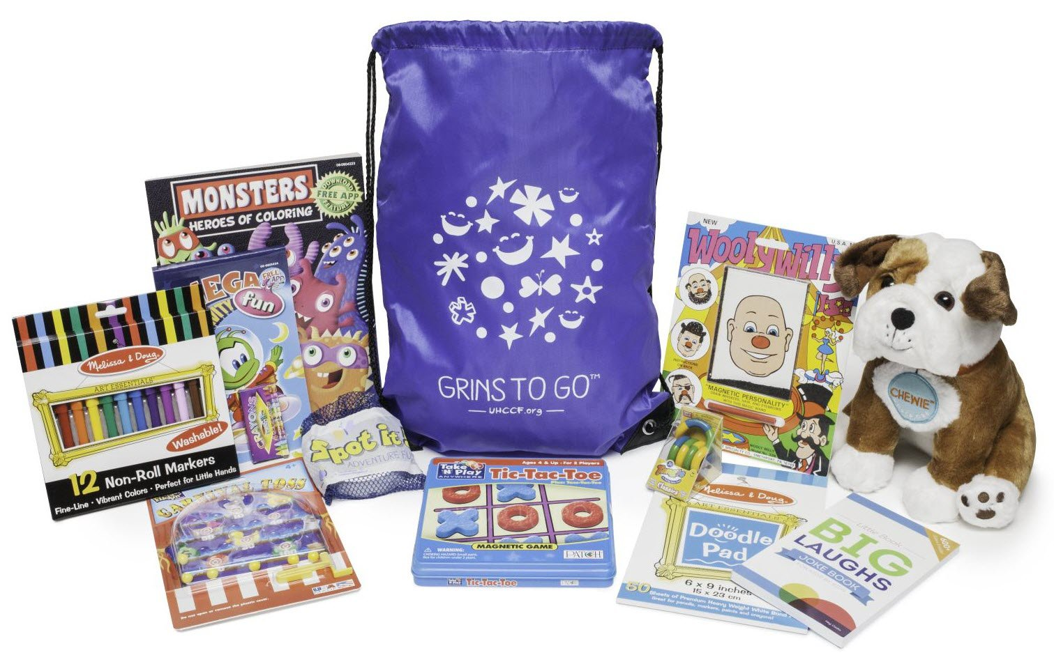 United Healthcare Children's Foundation Grins to Go Bag - A Gift Bag of Toys, Games and Activities for Boys and Girls