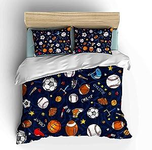 SHINICHISTAR Boys Comforter Set,Baseball and Football Bedding Full Size for Teens,Sports Fans.