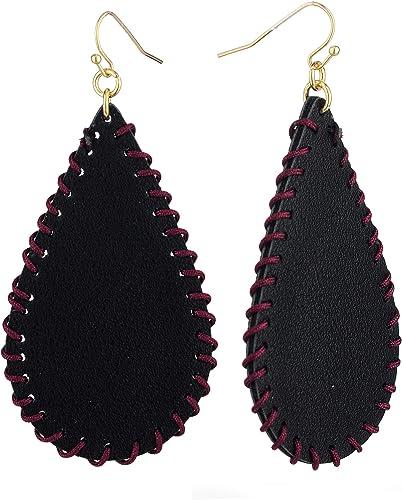 red black white fringe earrings large leather earrings big colorful geometric earrings Black and orange red tassel earrings