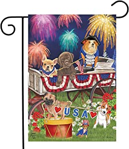 "Briarwood Lane Patriotic Pups Fourth of July Garden Flag Fireworks Dogs USA 12.5"" x 18"""