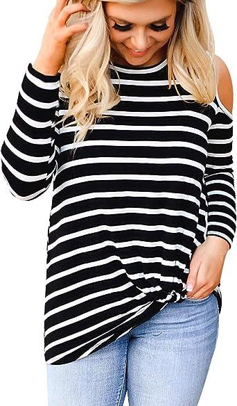 Camisetas Manga Larga Mujer Oversize Largas Camiseta Hombros Descubiertos Lisas Basica Tops Tunica Playeras Jersey Camisa Blusa Túnica Tunicas Poleras Camisas Blusas Tallas Grandes Casual: Amazon.es: Ropa y accesorios