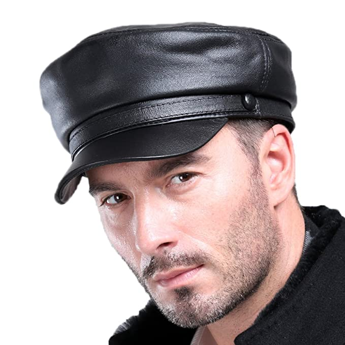 VEMOLLA Mens Real Sheepskin Leather Beret Cap Golf Military Cadet Hat  Newsboy Baseball Black XXL f7b12cb226f