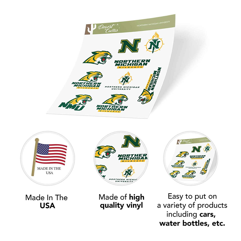 Northern Michigan University NMU Wildcats NCAA Sticker Vinyl Decal Laptop Water Bottle Car Scrapbook Full Sheet