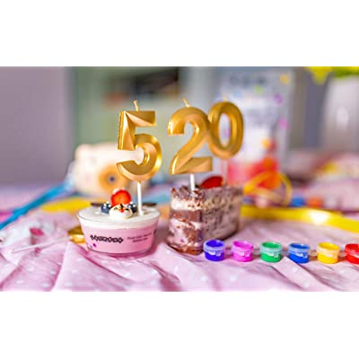 Can Decorate Birthday Parties Gold Glitter Number Candles,Birthday Candles,Sparkler Candles for Birthday Cakes,Suitable for Kids and Adults Graduation Party Etc Wedding Anniversary Parties