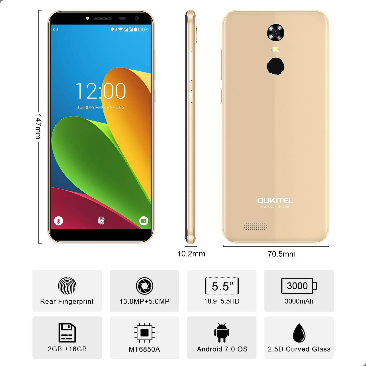 Oukitel C8 5.5 Zoll 3G Smartphone Ohne Vertrag,Android 7.0 MT6580A ...