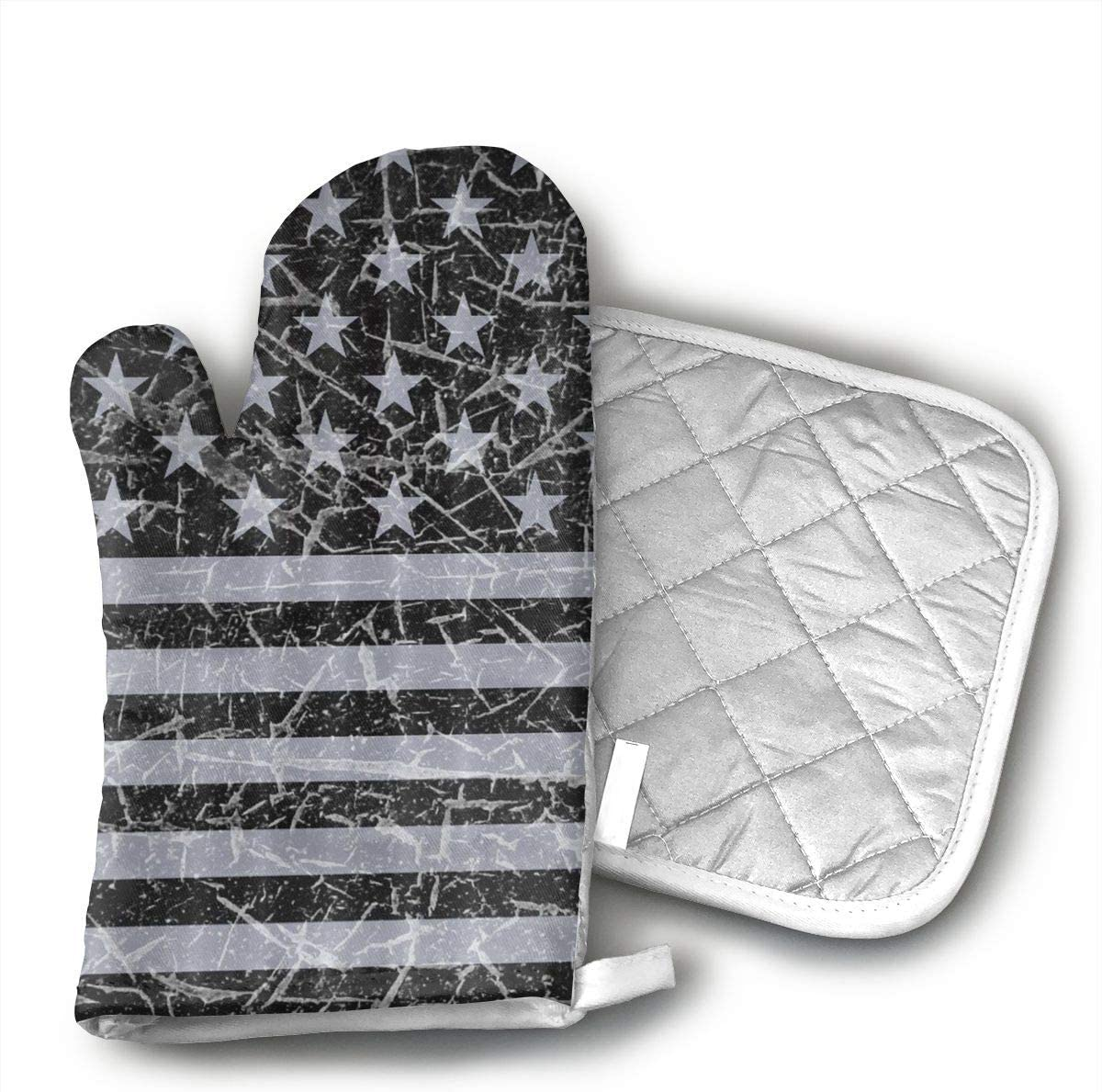 FGXQB Retro Distressed USA Flag Patriotic Oven Mitts with Quilted Cotton Lining - Heat Resistant Kitchen Gloves, Matching Mini Oven Mitts