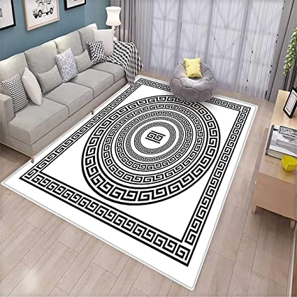 Greek Key Door Mats Area Rug Traditional Meander Border Set With Square And Circles Antique Ethnic Frame Pack Bath Mat Non Slip Black White