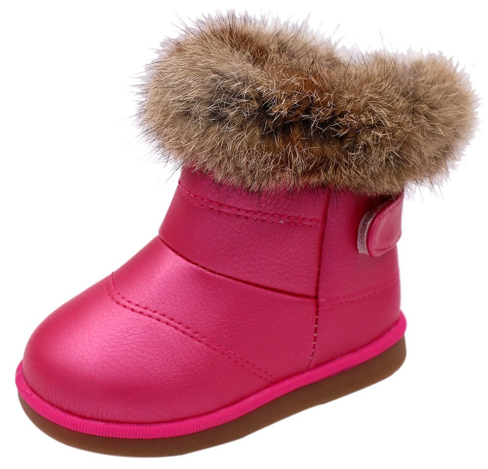 Femizee Toddler Girls Fully Fur Lined Waterproof Winter Snow Boots,Hot Pink 1934 CN25