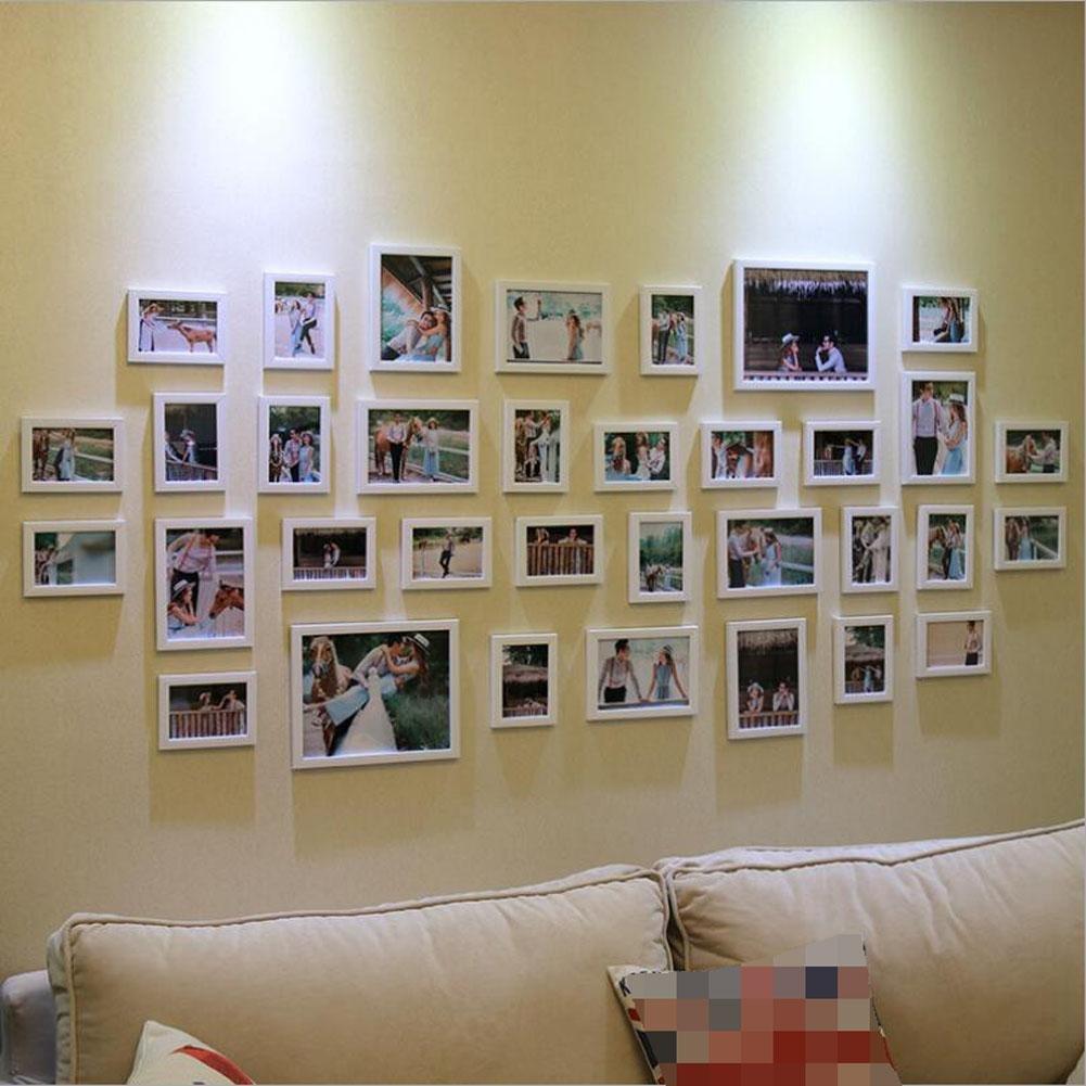 ZZZSYZXL 34 Rahmen Wohnzimmer Kreative Kombination Von Umwelt Materialien Fotowand White Gnstig Kaufen