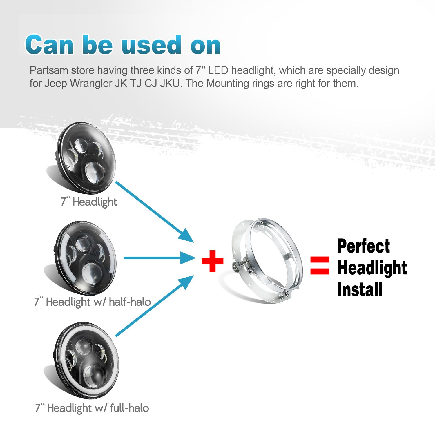 Jeep Headlight Mounting Diagram Trusted Wiring Amazon Com Vplus 7 Inch Round Daymaker Led Harley
