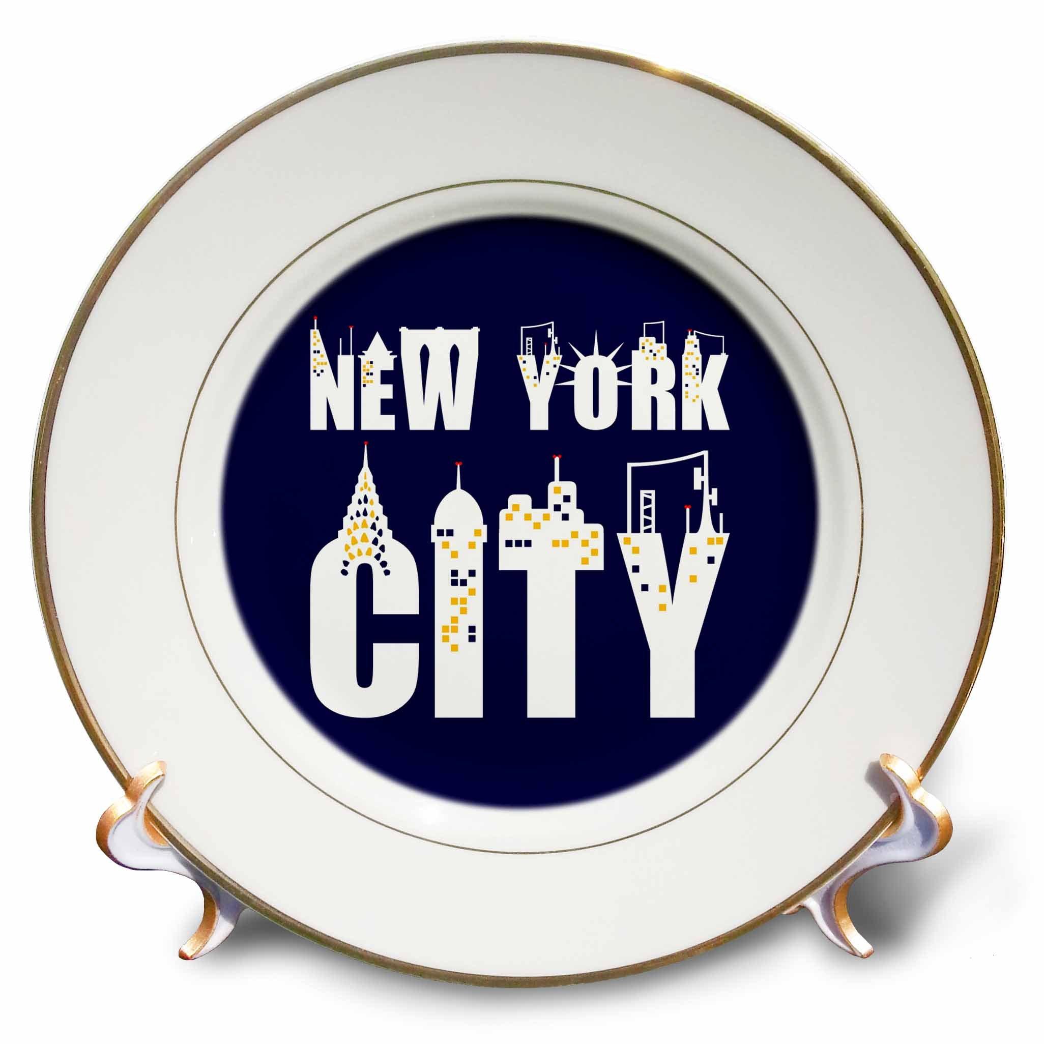 3dRose Alexis Design - American Cities - Elegant text New York City, landmarks, shining windows on blue - 8 inch Porcelain Plate (cp_286455_1)