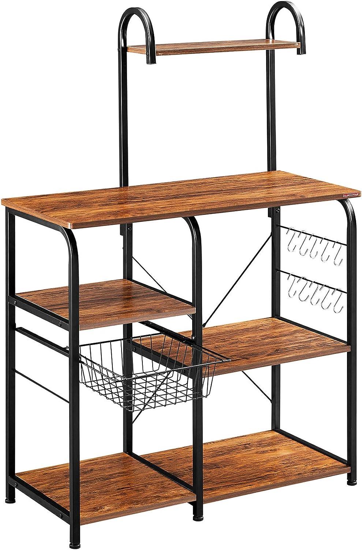 "Mr IRONSTONE Vintage Kitchen Baker's Rack Utility Storage Shelf 35.5"" Microwave Stand 3-Tier+4-Tier Shelf for Spice Rack Organizer Workstation with 10 Hooks - Standing Baker's Racks"