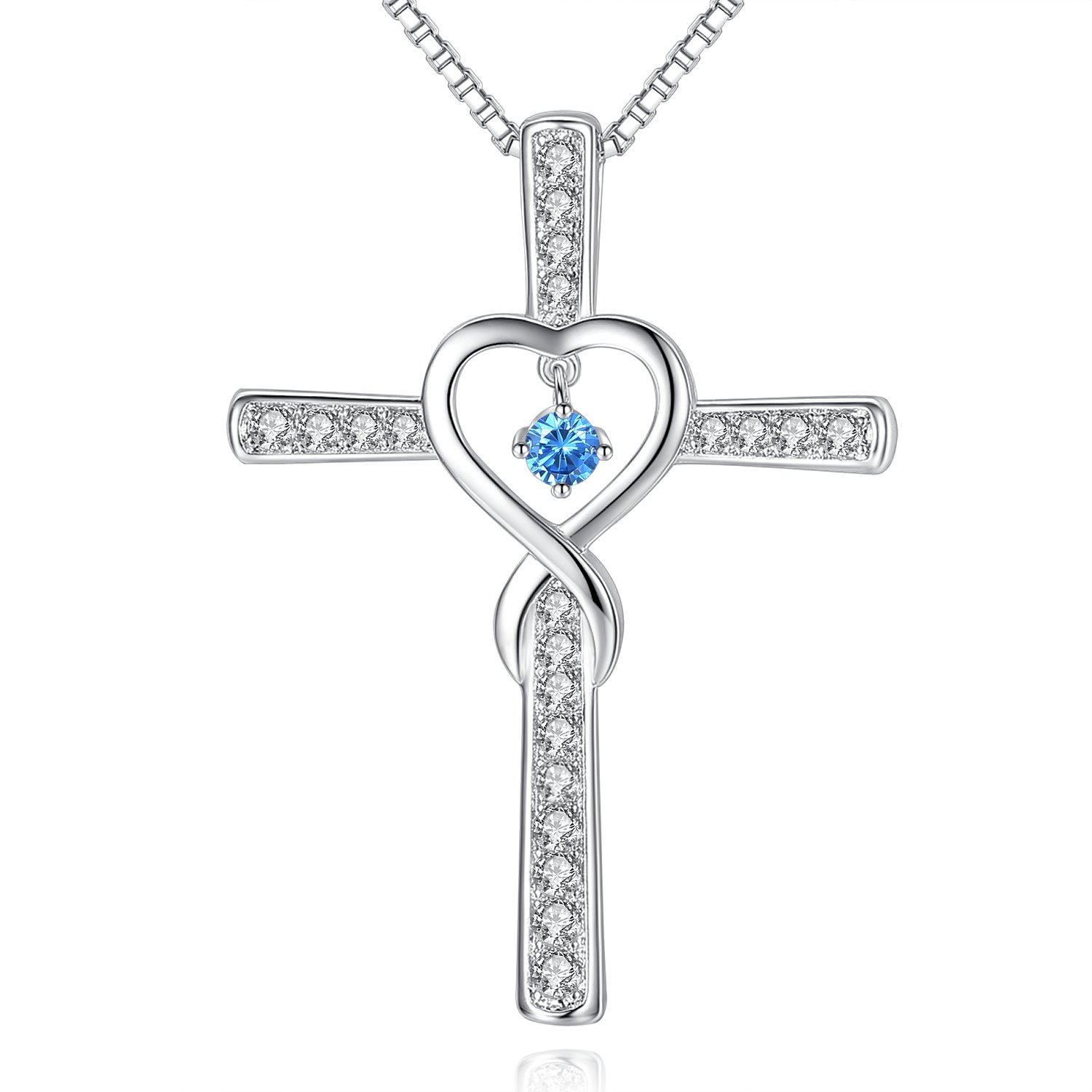 September Sapphire Birthstone Infinity Endless Love God Cross CZ Pendant Necklace, Birthday Jewelry Gifts for Women Girls Sister Wife Girlfriend Mom Mother Grandma Daughter Friendship Christmas Gifts