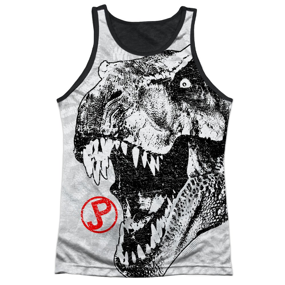 Jurassic Park T Rex Head Mens Tank Top Shirt with Black Back Trevco