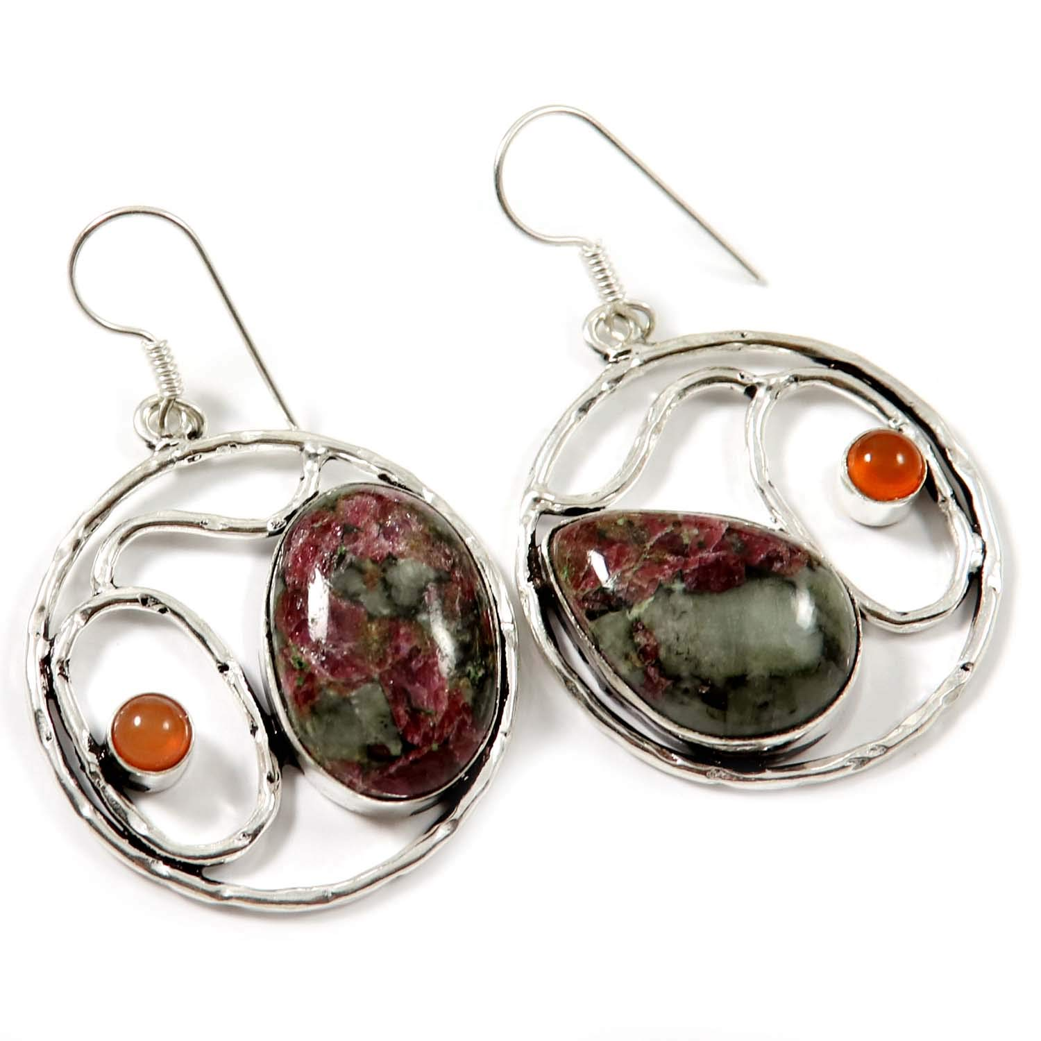 Goyal Crafts Eudialyte Natural Gemstone Earring Silver Plated Jewelry GEG84