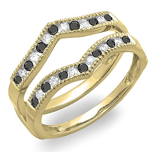 DazzlingRock Collection 0.48 quilates (CTW) anillo de guardia de banda de boda de oro