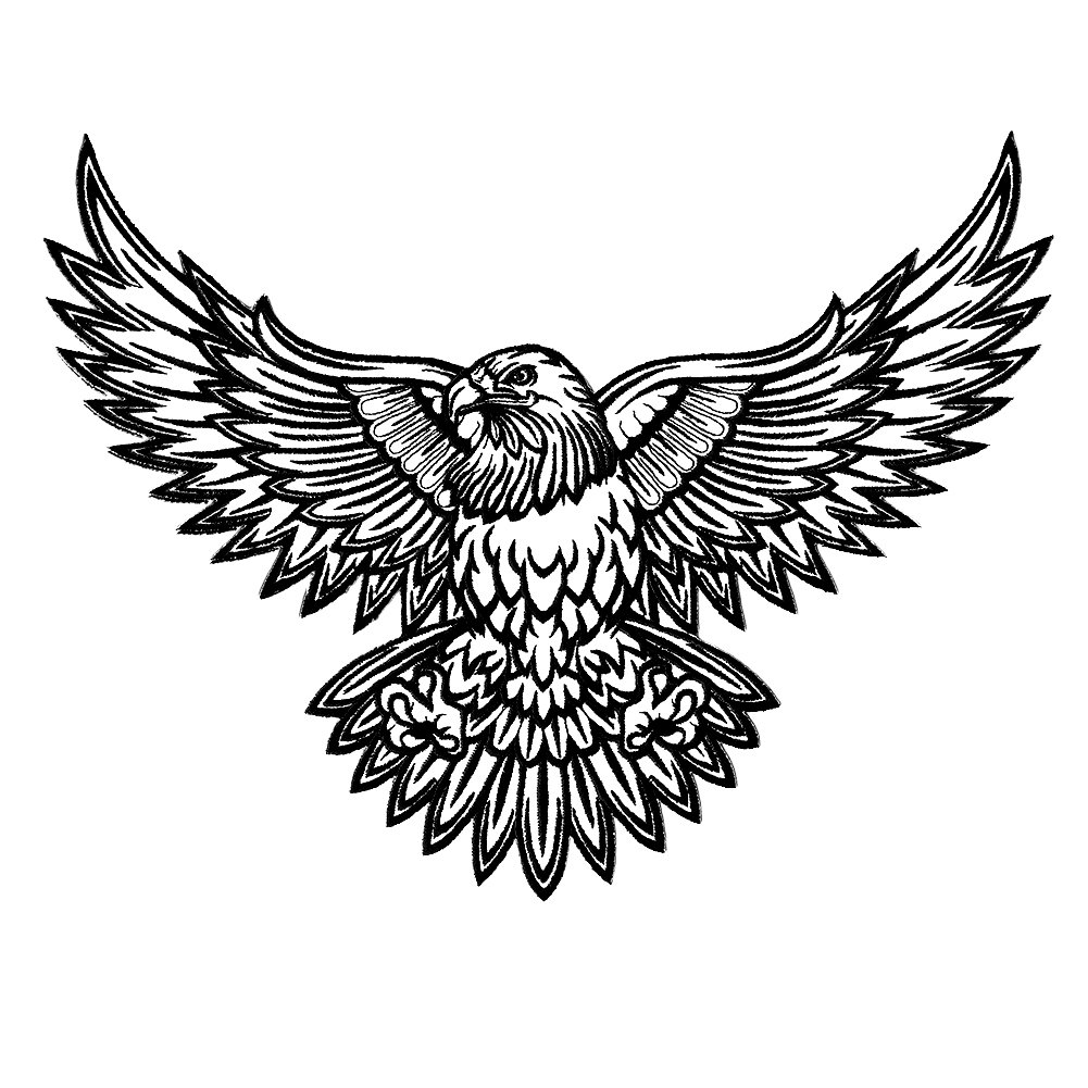 Amazon com vegasbee large american bald eagle tattoo ink style black white us embroidered iron on patch 12 x 9 5 everything else