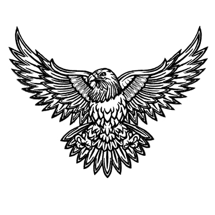 cc6950831 Amazon.com: VEGASBEE® LARGE AMERICAN BALD EAGLE TATTOO INK STYLE  BLACK-WHITE US EMBROIDERED IRON-ON PATCH 12