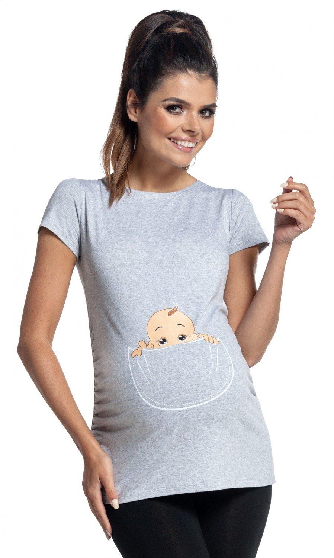 Zeta Ville - Shirt Camiseta Premamá estampado bebé asomándose para mujer - 501c maternity_top_501