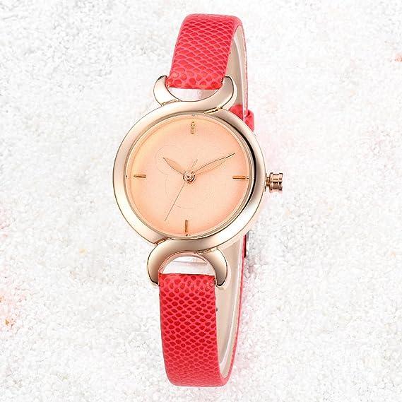 e128c5739935 R-temporizador para mujer correa de reloj HYJ H346 analógico Casual para  vestidos de cuarzo esfera y correa de piel Rojo  Amazon.es  Relojes