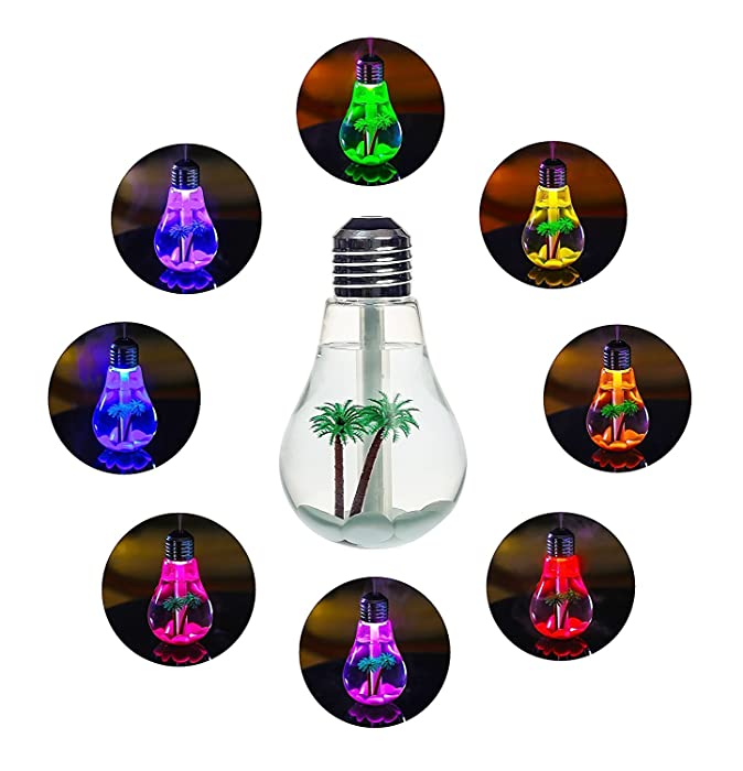 USB Air Humidifier Bulb 400 7 Colors Lamp Diffuser Humidifiers Air Purifier Atomizer with Colorful LED Night Light for Bedroom Household Office Car ,Humidifier for Baby Sleep Home Decor