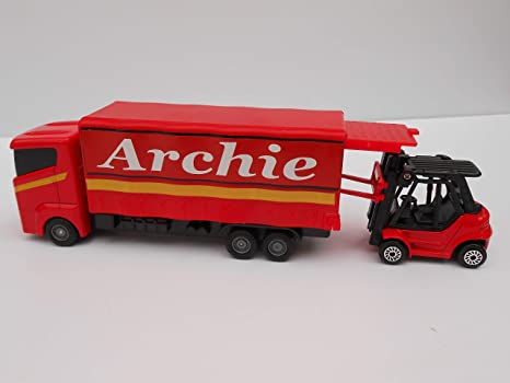 TOY LORRY AND FORK TRUCK PERSONALISED **ANY NAME** RED MODEL BOY