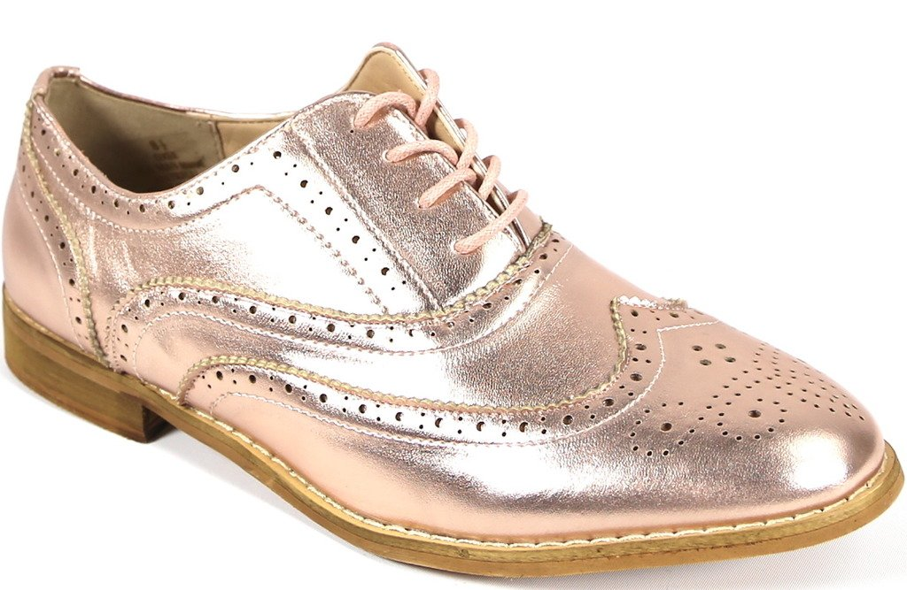 Bucco Oxee Womens Fashion Vegan Leather Oxford Shoes, Rose Gold, Size 8.5, US